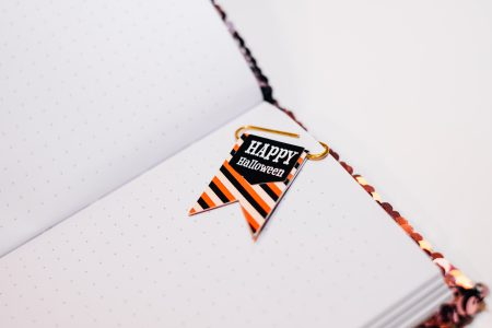 Happy Halloween paperclip in a notebook - free stock photo