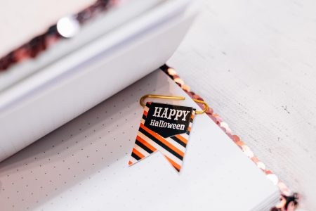 Happy Halloween paperclip in a notebook 2 - free stock photo