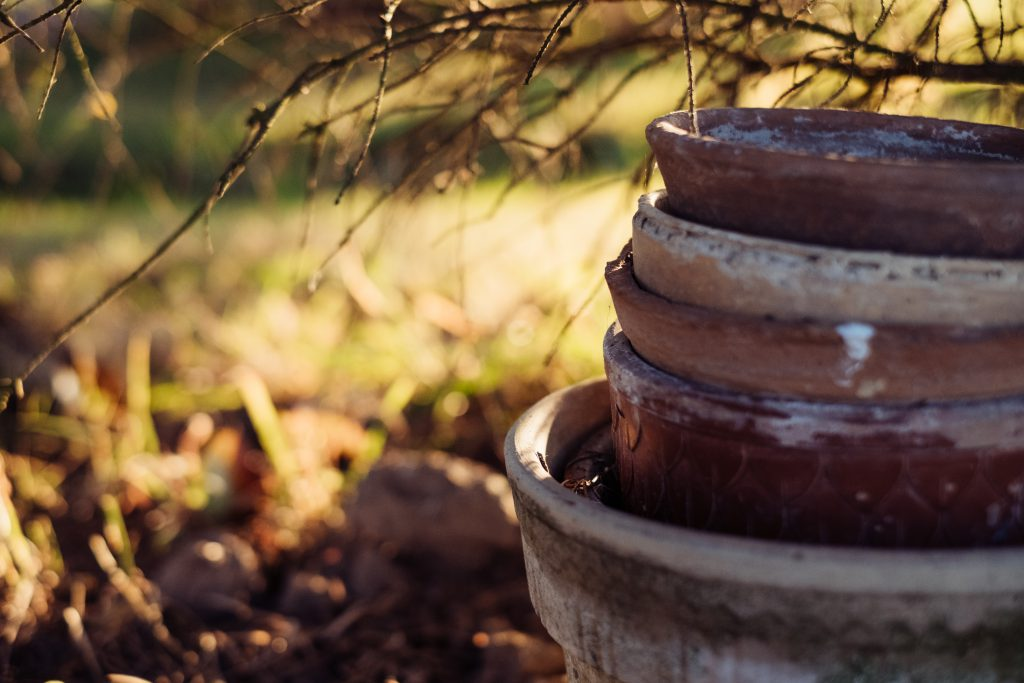 Old clay flower pots - free stock photo