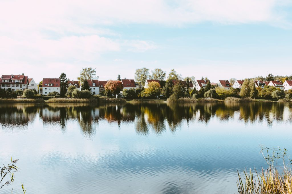 Apartment complex by the lake - free stock photo