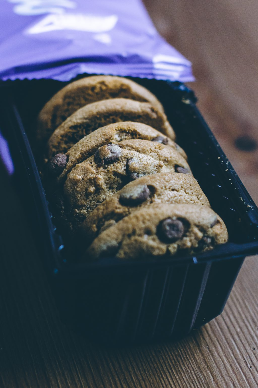 Chocolate chip cookies in a box - free stock photo