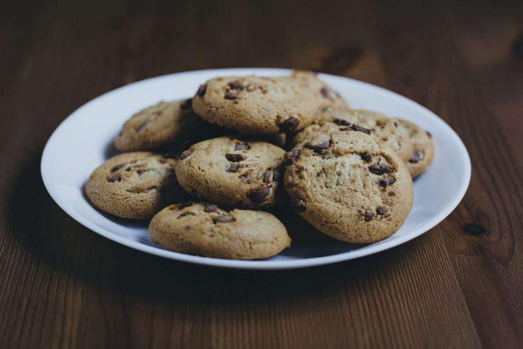 Chocolate chip cookies on a plate 2 - free stock photo