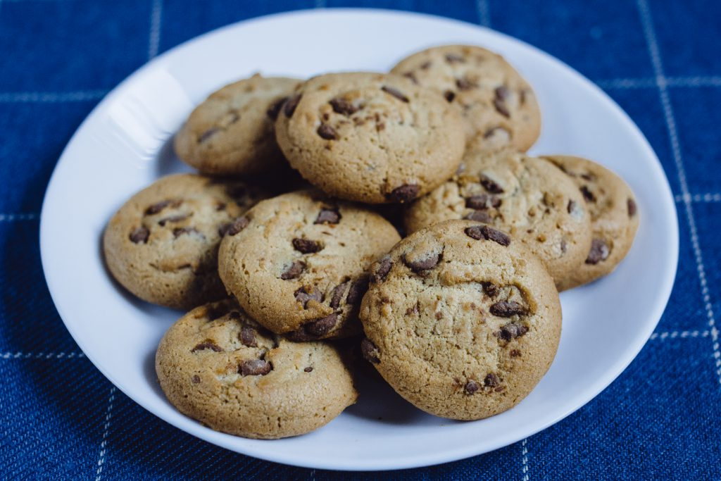 Chocolate chip cookies on a plate 3 - free stock photo