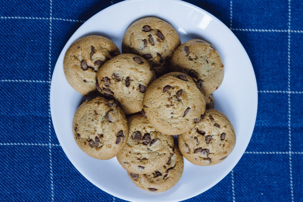 Chocolate chip cookies on a plate 4 - free stock photo