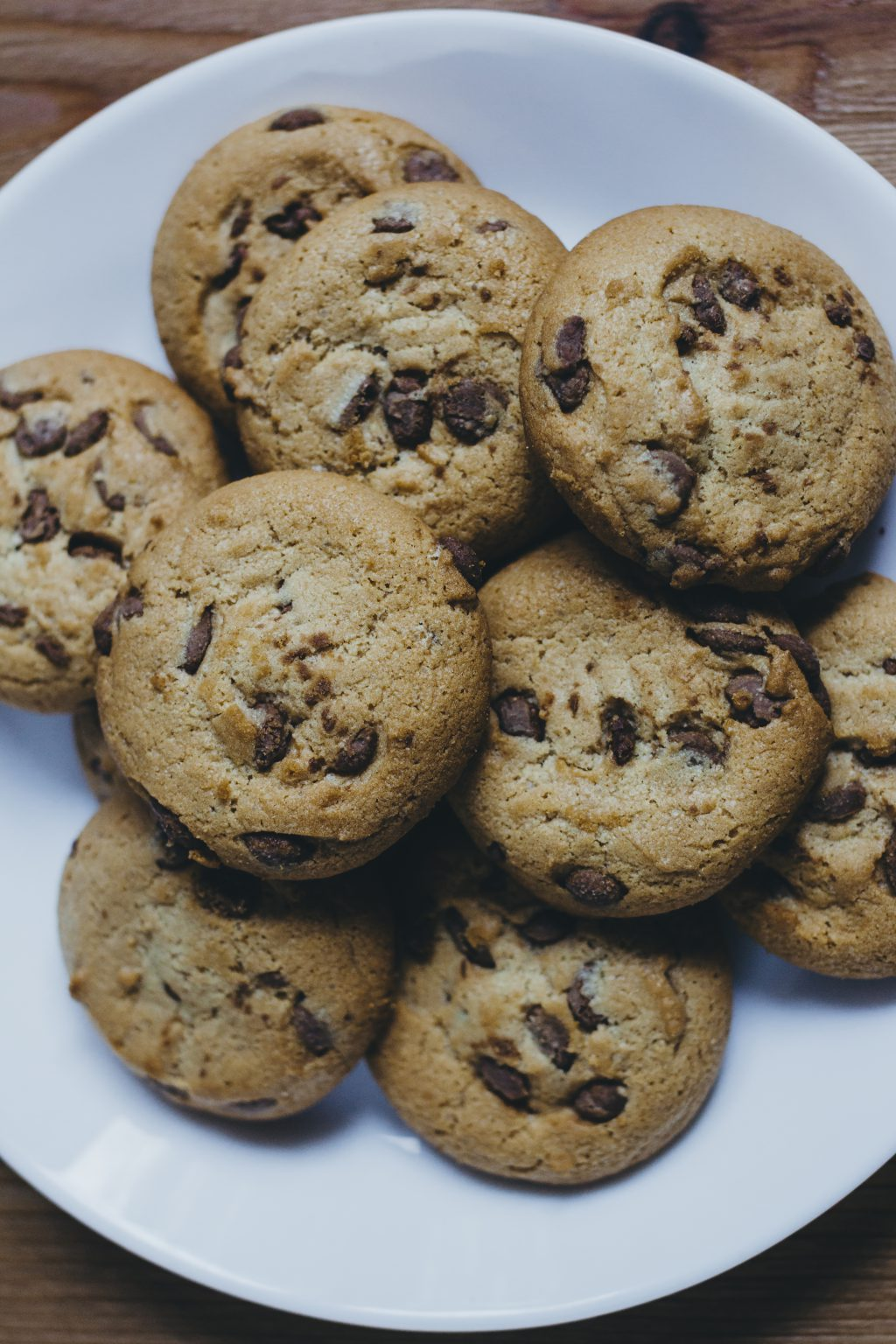 Chocolate chip cookies on a plate 5 - free stock photo