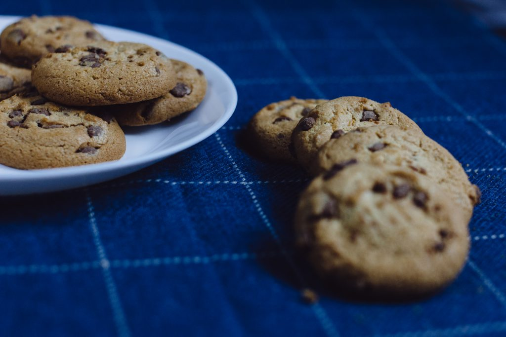 Chocolate chip cookies on a plate 6 - free stock photo