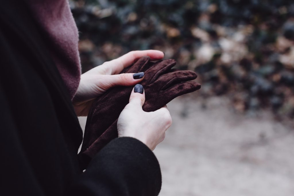 Female hands holding leather gloves - free stock photo