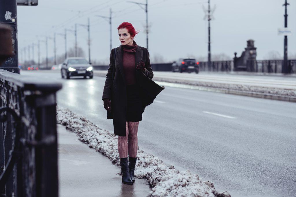 Redhead model winter shoot - free stock photo