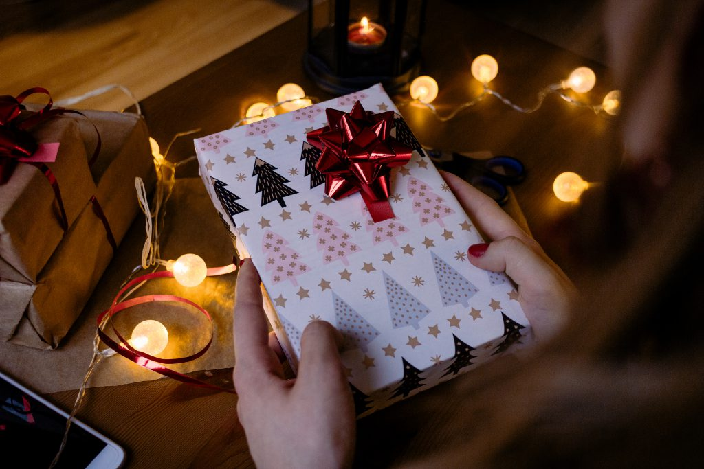 A female holding a christmas gift 6 - free stock photo