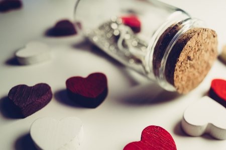 Message in a bottle and wooden hearts 3 - free stock photo