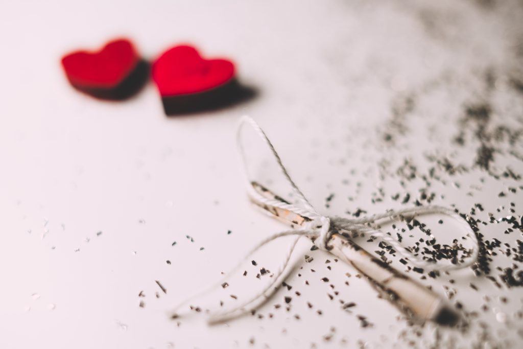 Tiny letter and wooden hearts 4 - free stock photo