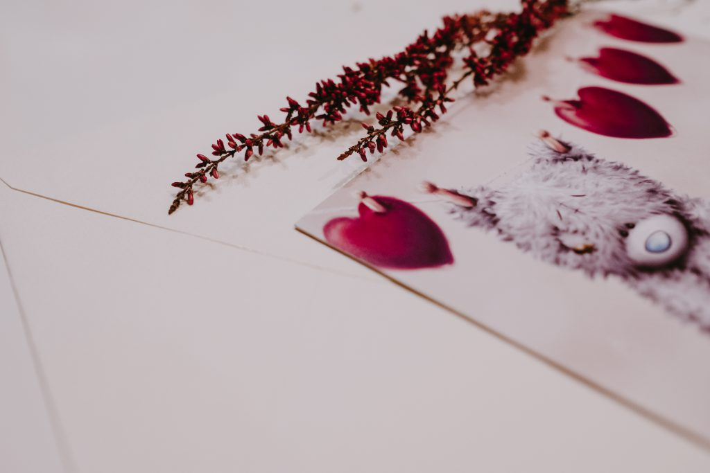Valentines card with teddy bear - free stock photo