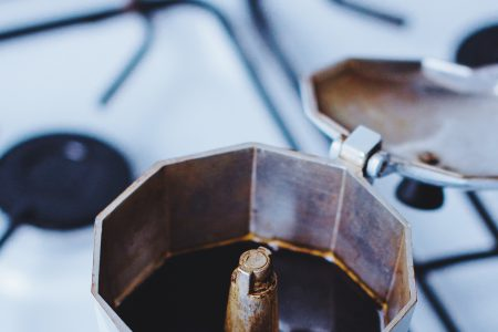 Brewing black coffee in a percolator - free stock photo