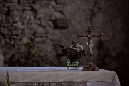Stone wall church altar - free stock photo