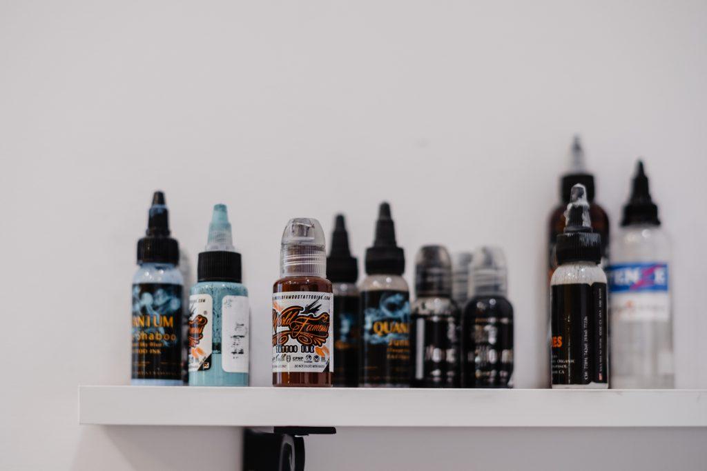 Tattoo ink bottles - free stock photo