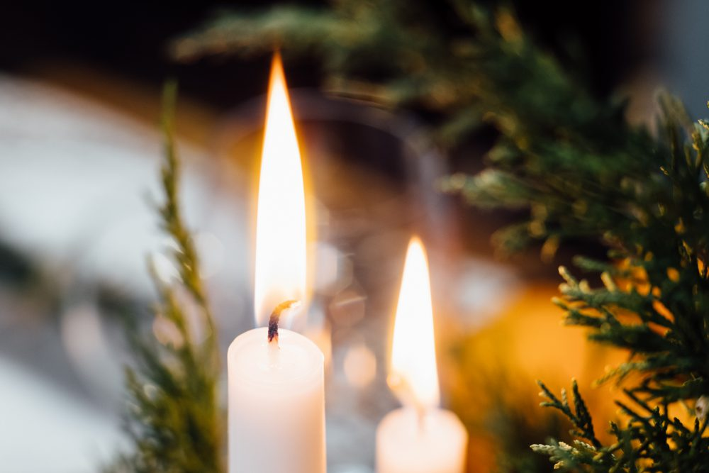 Burning candles closeup - free stock photo