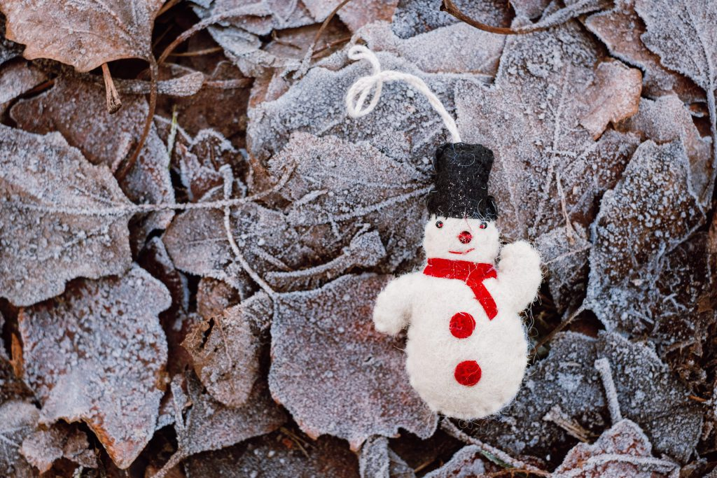 Felted snowman on frosted leaves 2 - free stock photo
