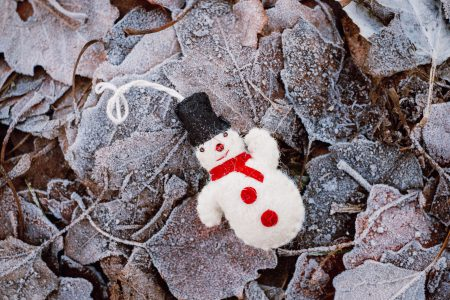Felted snowman on frosted leaves 3 - free stock photo