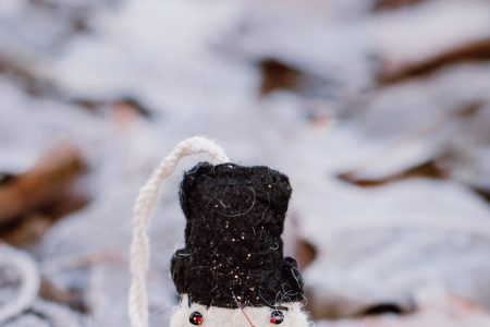 Felted snowman on frosted leaves 5 - free stock photo