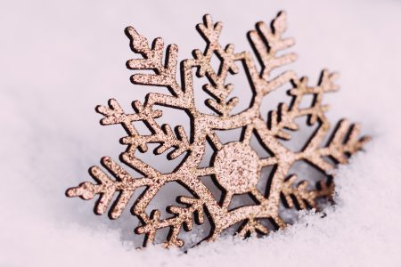 Gold glitter snowflake - free stock photo