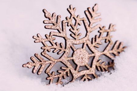 Gold glitter snowflake - free stock photo