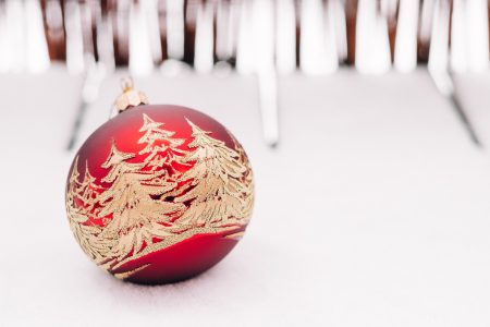 Red and gold christmas bauble - free stock photo