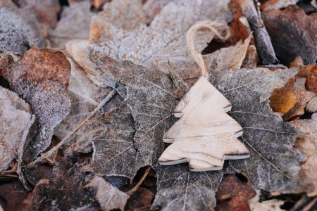 Wooden Christmas tree on frosted leaves 2 - free stock photo