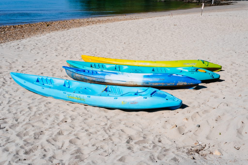 Canoes on a sandy beach - free stock photo
