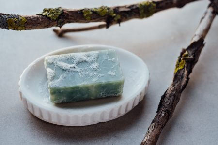 Mint handmade soap bar foam - free stock photo