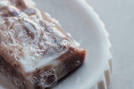 Pink handmade soap bar foam closeup 3 - free stock photo