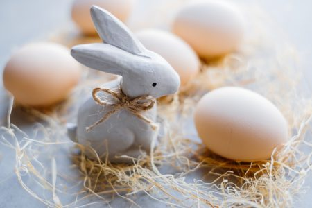 Ceramic Easter Bunny and plain eggs 2 - free stock photo