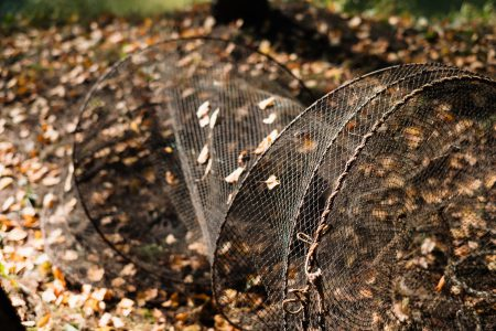 Fish net lying on the ground - free stock photo