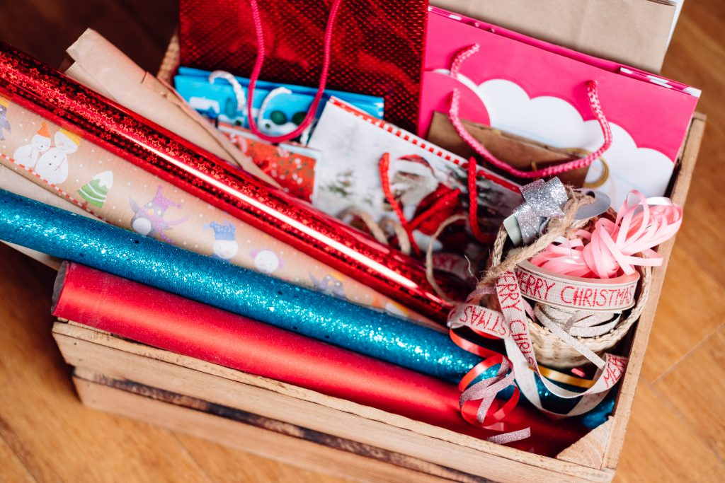 Christmas bags, wrapping paper and ribbons 2 - free stock photo