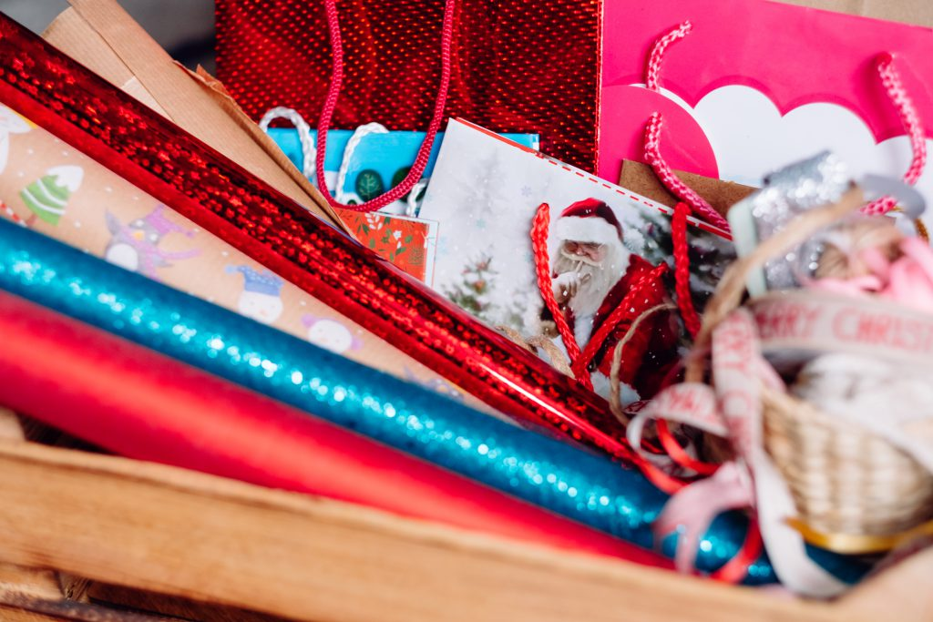 Christmas bags, wrapping paper and ribbons 3 - free stock photo