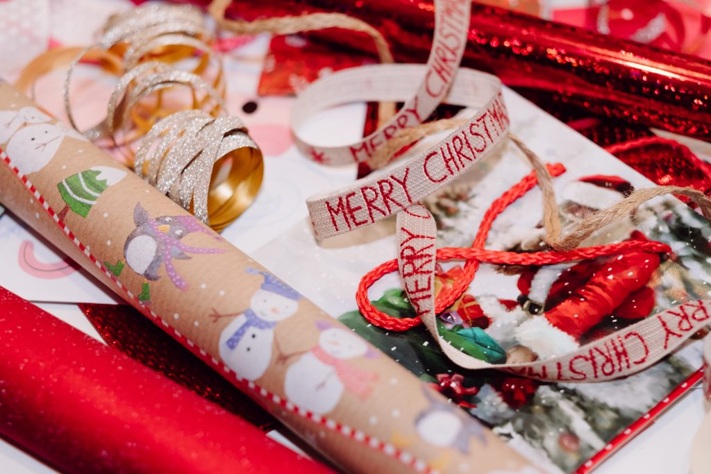 Christmas bags, wrapping paper and ribbons 4 - free stock photo