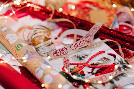 Christmas bags, wrapping paper and ribbons 5 - free stock photo