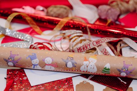 Christmas bags, wrapping paper and ribbons 6 - free stock photo
