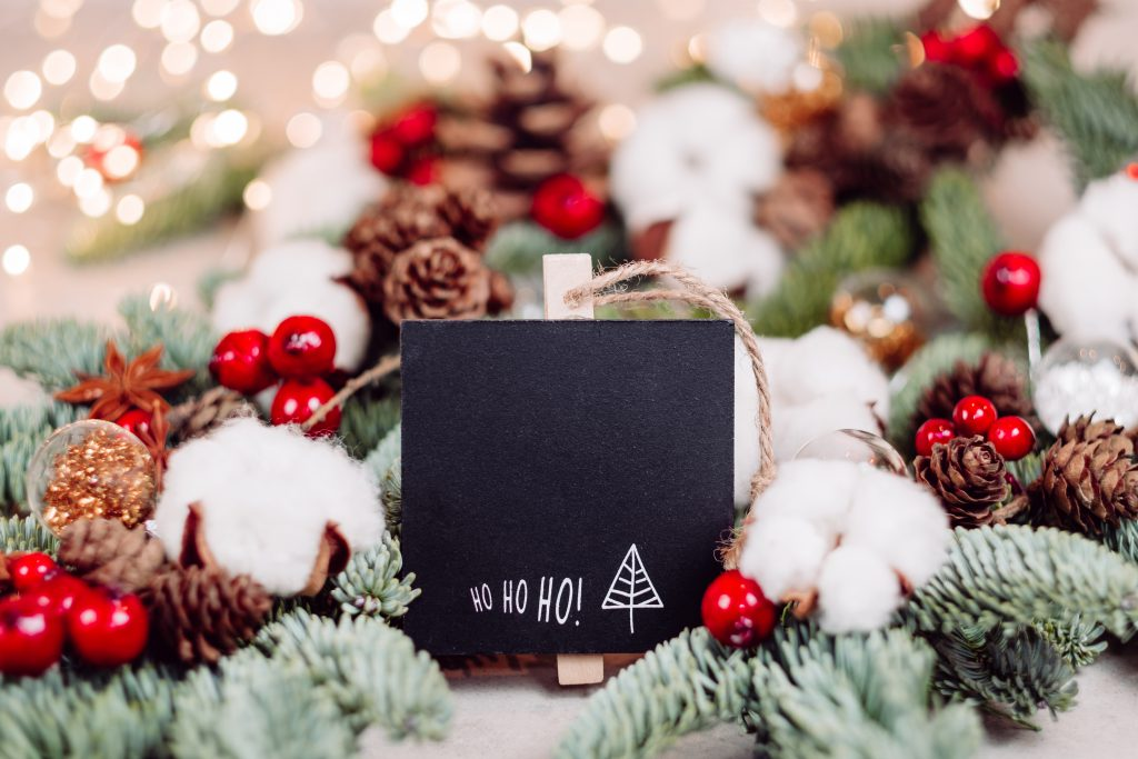 Christmas spruce decoration with a blackboard clamp 4 - free stock photo
