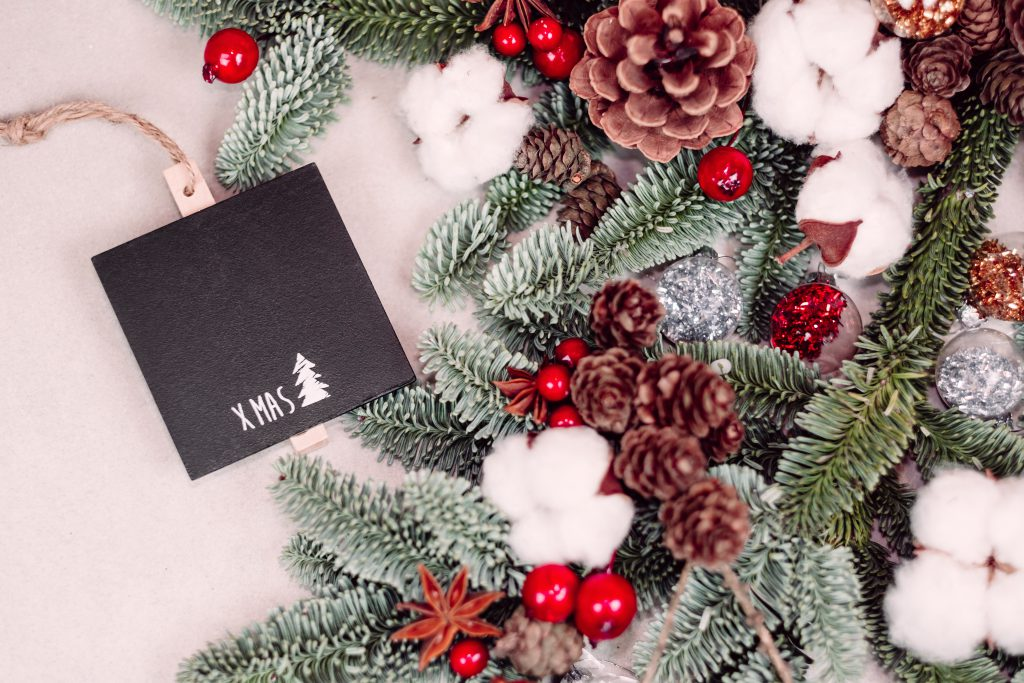 Christmas spruce decoration with a blackboard clamp 6 - free stock photo