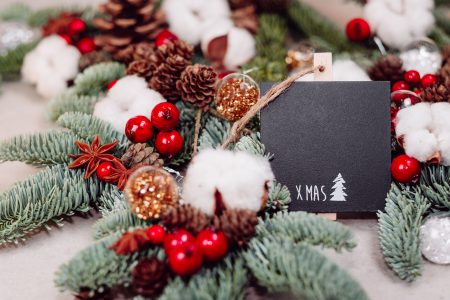 Christmas spruce decoration with a blackboard clamp 7 - free stock photo