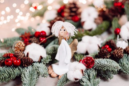 Christmas spruce decoration with an angel - free stock photo