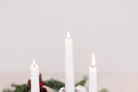 Christmas spruce decoration with candles - free stock photo
