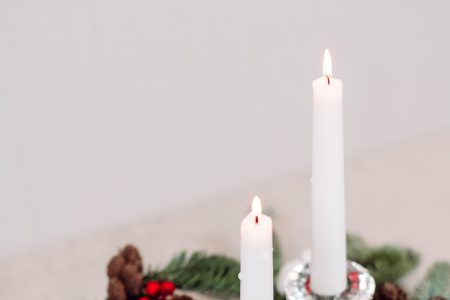 Christmas spruce decoration with candles 2 - free stock photo