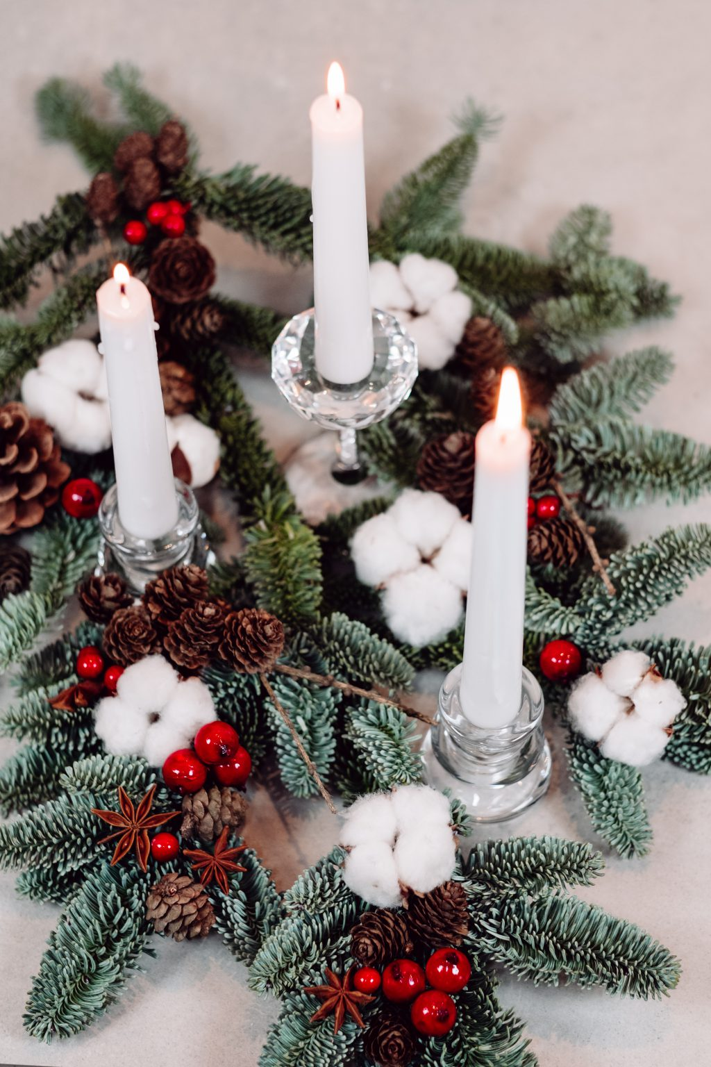 Christmas spruce decoration with candles 3 - free stock photo