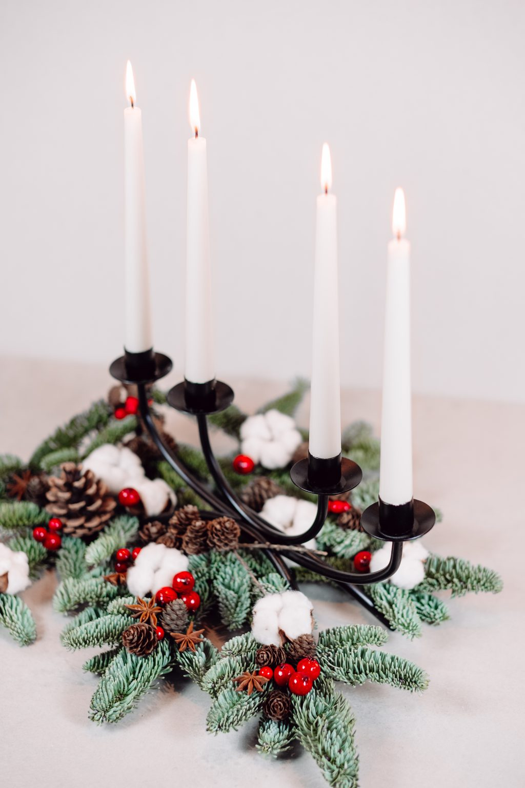Christmas spruce decoration with candles 4 - free stock photo