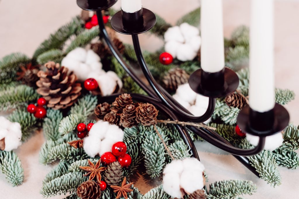 Christmas spruce decoration with candles 6 - free stock photo
