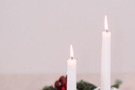 Christmas spruce decoration with candles and an angel 2 - free stock photo
