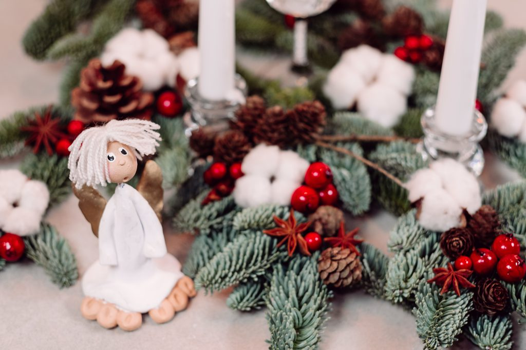 Christmas spruce decoration with candles and an angel 3 - free stock photo