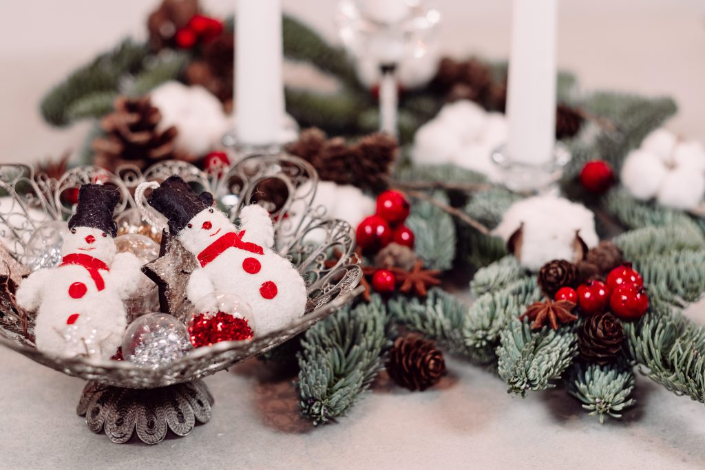 Christmas spruce decoration with candles and snowmen 2 - free stock photo