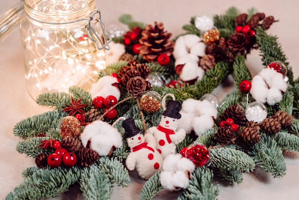 Christmas spruce decoration with lights in a jar - free stock photo